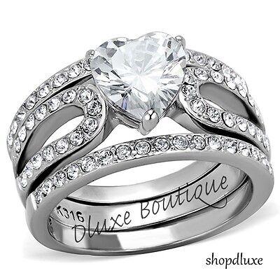 3.15 Ct Heart Shape CZ Wedding & Engagement Ring 3 Piece Set Women's Size 5-10