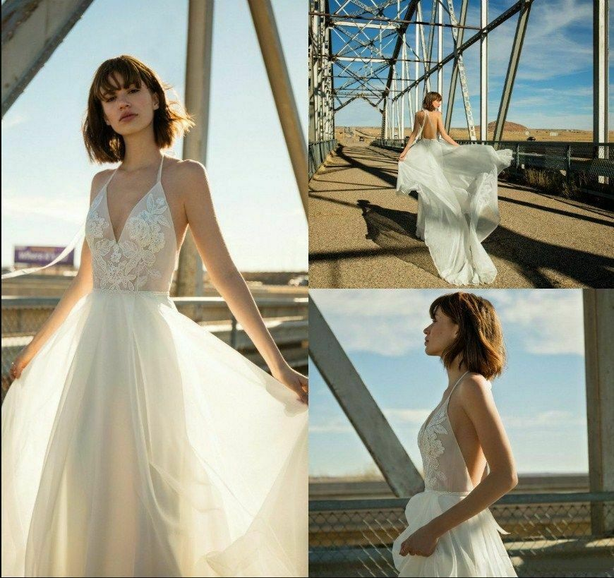 Beach Chiffon Wedding Dresses Halter Backless Appliques Bridal Gown Custom Plus