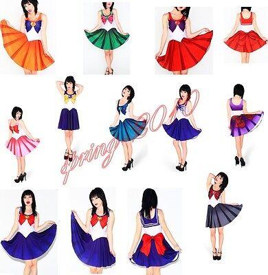 New Women's Sailor Moon Pleated Dress Halloween Cosplay Cartoon Umbrella Skirts