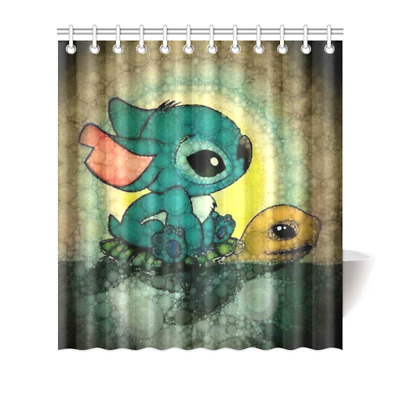 Custom Polyester Waterproof Lilo And Stitch Bathroom Shower Curtain 66 x 72 Inch