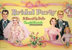 VINTAGE UNCUT 1950's BRIDAL PARTY PAPER DOLLS~#1 REPRODUCTION~#1 SELLER~PRETTY