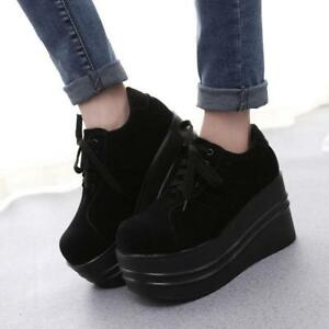 Ladies-Chic-Gothic-Punk-Lace-Up-Round-Toe-Slouch-Creeper-Platform-Shoes-Sneaker