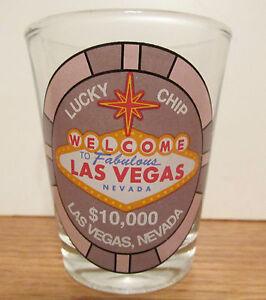 WELCOME-TO-BEAUTIFUL-LAS-VEGAS-NEVADA-10-000-LUCKY-CHIP-SHORT-SHOT-GLASS