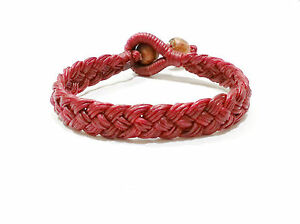 Fair-Trade-Red-Wax-Cord-Wide-Plait-Classic-Thai-Wristband-Handcrafted-Wristwear