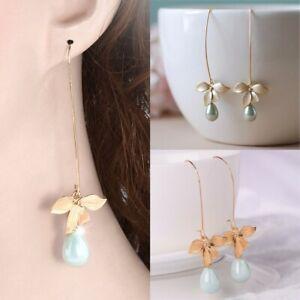 Fashion-Chic-Gift-Charm-Jewelry-Orchid-Flower-Earrings-Pearl-Dangle-Ear-Stud