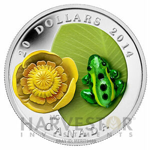 2014-CANADA-SILVER-WATER-LILY-WITH-VENETIAN-GLASS-LEOPARD-FROG-SOLD-OUT
