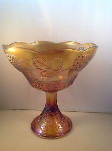 Vintage-Indiana-Glass-Harvest-Grape-amp-Leaf-Gold-Carnival-Bowl-Fruit-Bowl-1259