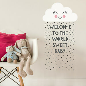Kawaii Cloud Quote New Baby Childrens Kids Bedroom Wall Sticker Art