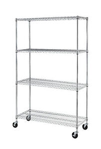 Black Chrome Commercial 4 Tier Shelf Adjustable Steel Wire