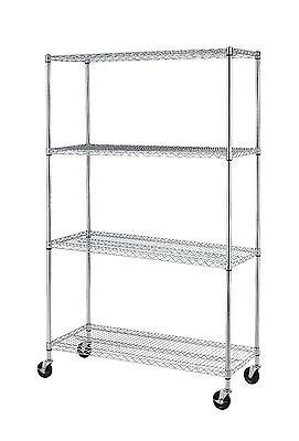 Black/Chrome Commercial 4 Tier Shelf Adjustable Steel Wire Metal Shelving Rack