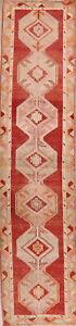 Geometric Tribal 13 ft Long Runner Oushak Turkish Hall-Way Runner Rug Wool 3x13