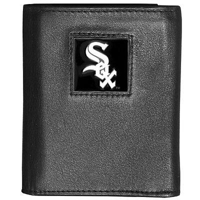 Sport WunderschöNen Chicago Weißes Sox Mlb Deluxe Dreifach Gefaltene Feine Vollleder Portemonnaie Dauerhafte Modellierung Baseball & Softball