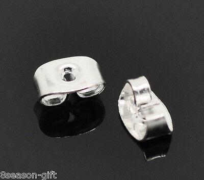 """500 Silver Plated Ear Nut Clutch Earring Post Backs 6x4mm(1/4""""x1/8"""")"""