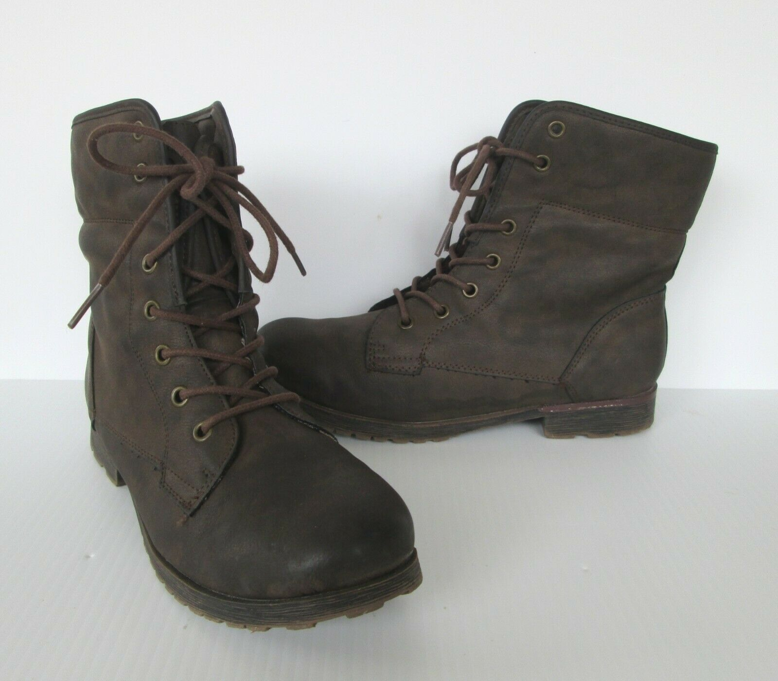 Rock & Candy Womens Brown Spray Paint Combat style Lace up Boots 8.5 M