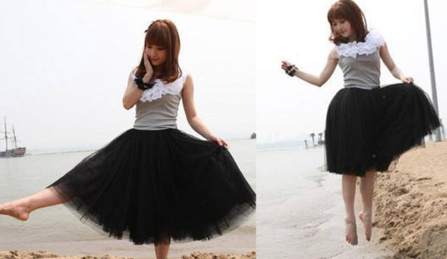 2016 Summer New Fashion Black Girl Princess Fairy Tulle 5 Layers Bouffant Skirt