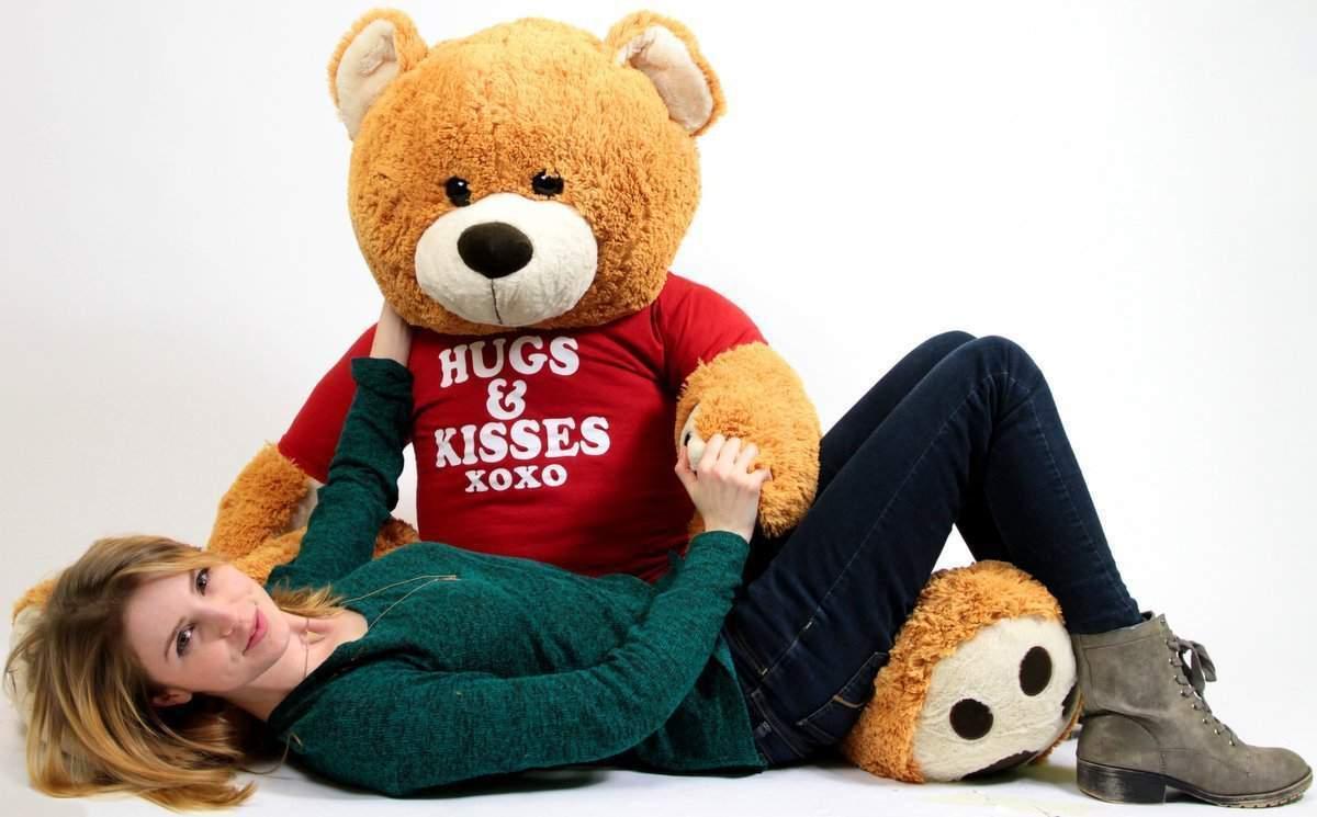 Big Plush Riesig 1.5m Weich Teddybär Trägt T-Shirt Umarmungen und Küsse Xoxo