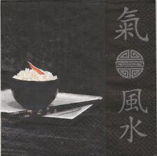 2 Serviettes en papier Asie Baguettes Signes Paper Napkins Sushi in Black Asia
