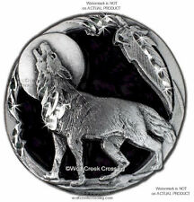 MOON SHADOW WOLF PIN for MALE ~ FEMALE WOLVES WILDLIFE ART JEWELRY FREE SHIP #E*