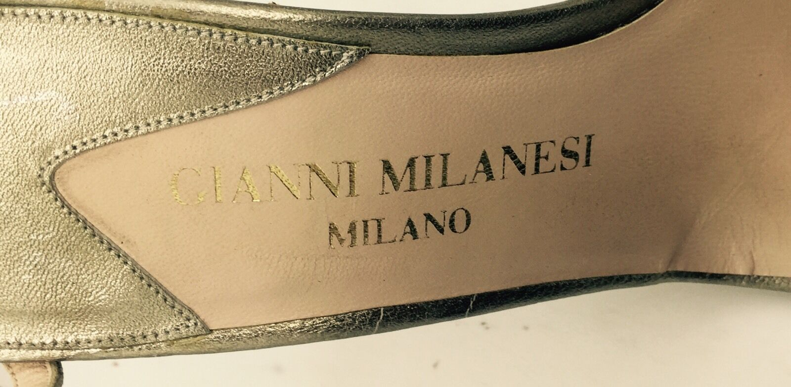 GIANNI MILANESI MILANO Silver Metallic Leather Stiletto Heel Sandals 39 9M