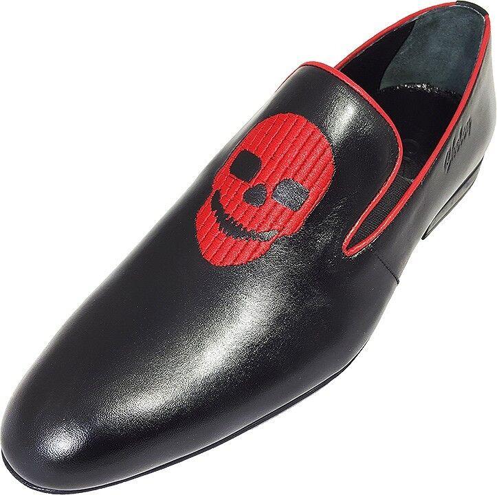 Original Chelsy - Handmade Italienische Designer Slipper Totenkopf schwarz 43