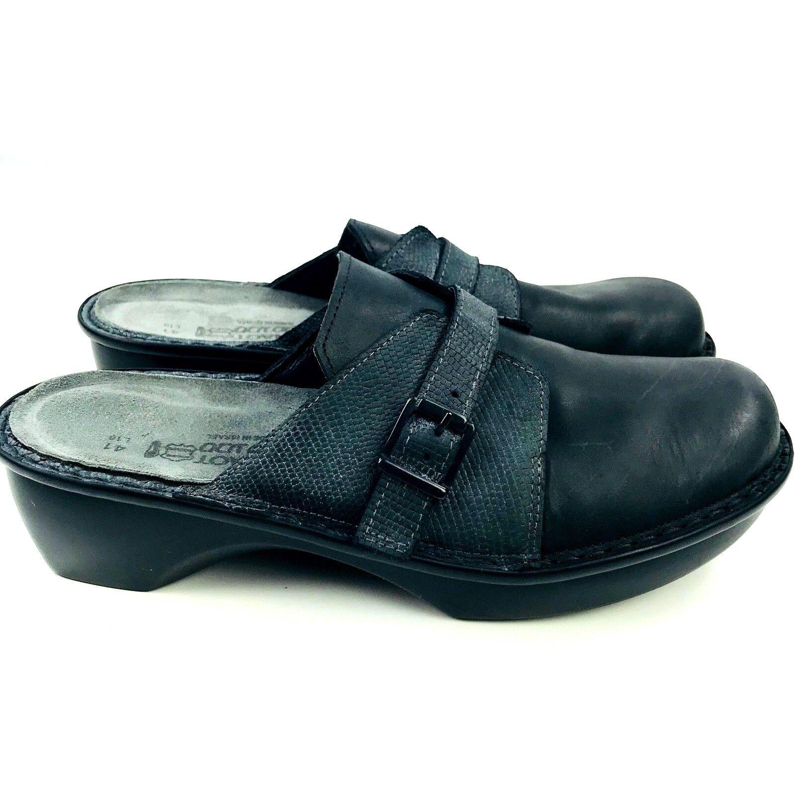 Naot Zapatos para mujer Talla 10 Negro Negro Negro Cuero Comodidad diapositivas Mulas Zuecos Slip On enfermera  diseñador en linea