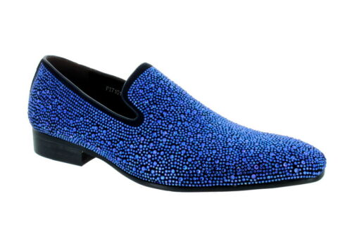 Details about  /Fiesso Royal Blue Rhinestone Slip on Loafer