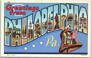 PHILADELPHIA-Pennsylvania-Large-Letter-Postcard-w-Liberty-Bell-Linen-c1940s