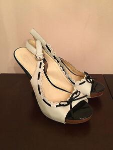 COACH-Leather-Womens-White-Black-Open-Toe-High-Heel-Lace-Shoes-Sz-8-5-EUC