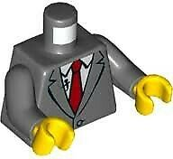 LEGO Dark Bluish Gray Suit Jacket with Red Tie and Lapel Mic Loose Torso Loose