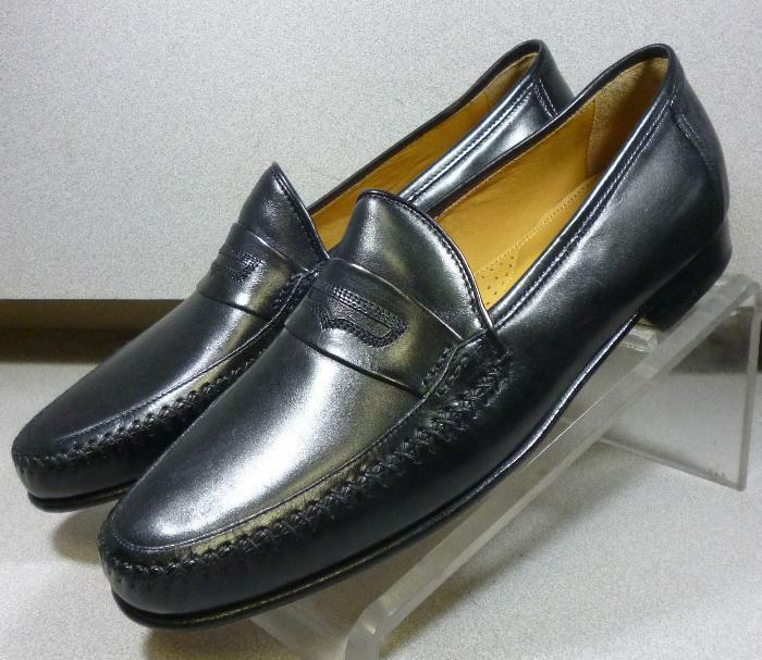 5910155 MS50 Chaussures Hommes Taille 10 m Noir Cuir à Enfiler Johnston & Murphy