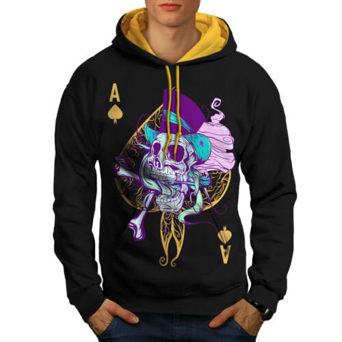uomo contrasto Ace Card Skull cappuccio Spade oro nero con Felpa cappuccio 4g01EE