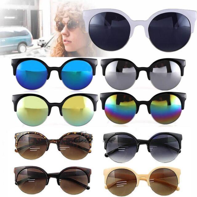 Unisex Fashion Vintage Retro Oversized Cat Eye Sunglasses Round Black Designer