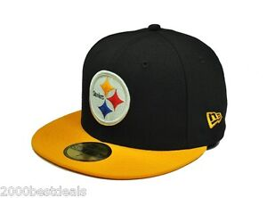 New-Era-59Fifty-Cap-NFL-Pittsburgh-Steelers-Mens-Black-Yellow-Fitted-5950-Hat
