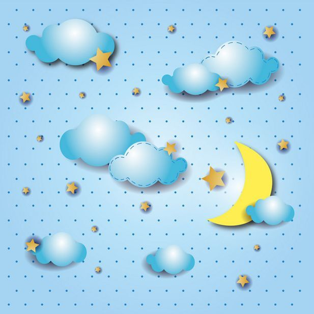 3D Cartoon Moon&Cloud Ceiling WallPaper Murals Wall Print Decal Deco AJWALLPAPER