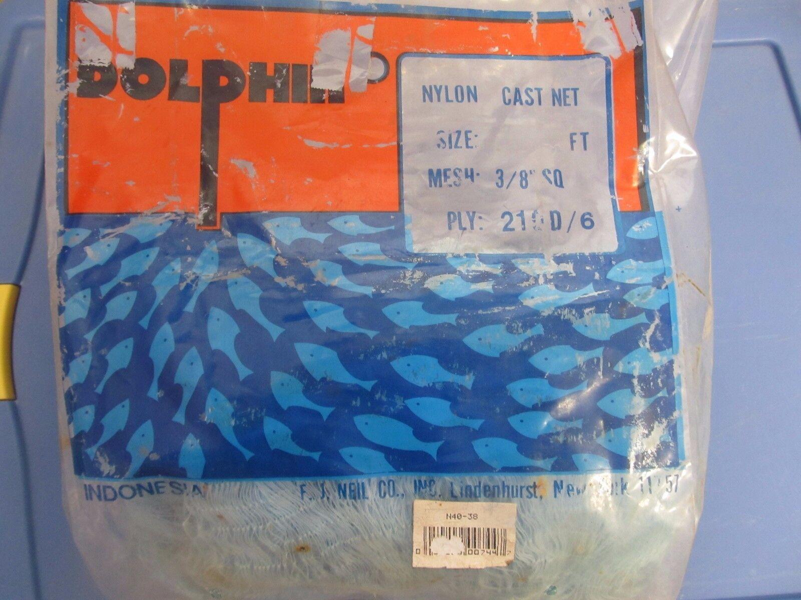 Dolphin Brand Nylon Cast Net 3 8  Sq Mesh  4' Radius