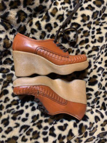60s-70s Vintage Brown Famolare Size 6.5 N Platform