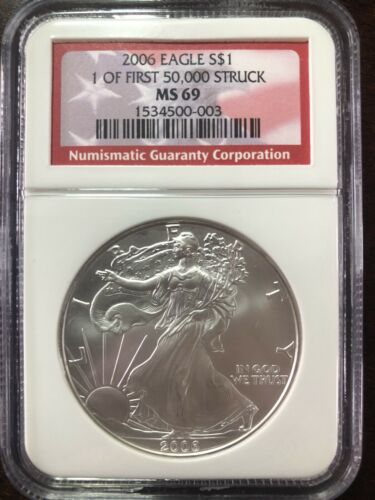 2006 AMERICAN SILVER EAGLE NGC MS69 FIRST STRIKE 1oz .999 FIRST 50,000 STRUCK