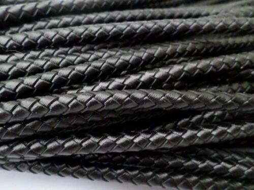 6mm 2 Yards Free Shipping Black Round Bolo Braided Leather Cord 3mm 5mm 4mm