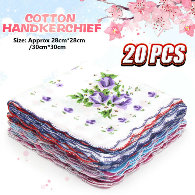 20Pcs Lot Ladies Women Vintage Cotton Quadrate Hankies Floral Handkerchief Decor
