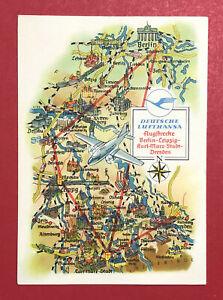 Reklame-AK-DEUTSCHE-LUFTHANSA-1958-Flugstrecke-Berlin-Leipzig-Dresden-62870
