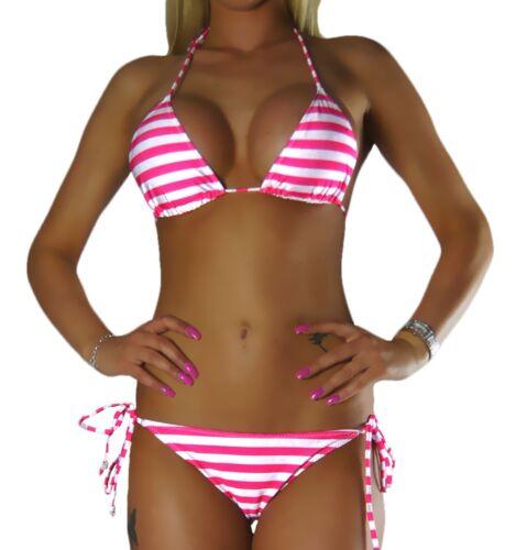 XXS-L NEU Damen Neckholder Bikini Set Top Hose Pink Weiß Streifen Gestreift Gr