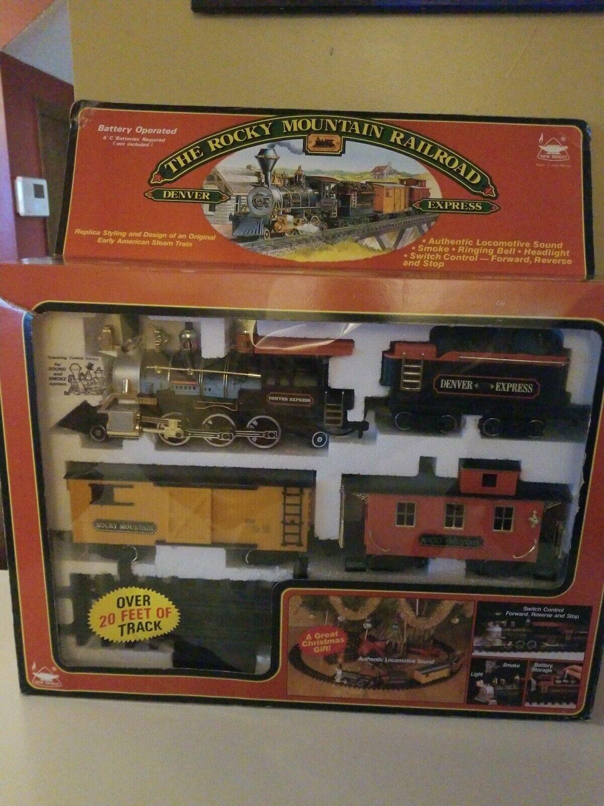 1989 nuovo Bright Christmas THE DENVER EXPRESS TRAIN SET, Rocky mountain Railstrada