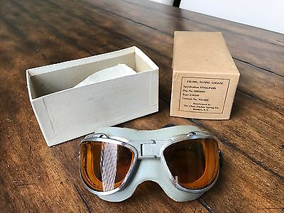 RARE WWII AN6530 AMBER LENS AAF FLIGHT GOGGLES BY CHAS FISCHER FOR PILOT AVIATOR