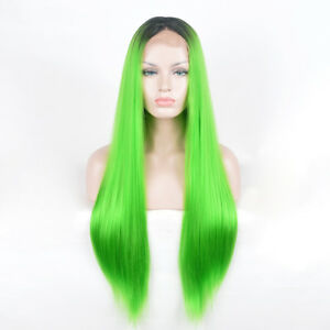 Women-Lace-Front-frontal-lace-straight-hair-wig-Wigs-neon-green-ombre-black