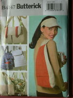 4147 Butterick Sewing Pattern Ladies Backpack Purse Utility Bags and Visor Craft Supplies