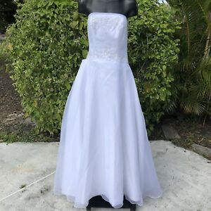 Michaelangelo-White-Strapless-Wedding-Dress-Size-10-Bridal-Gown-Beaded-Damaged