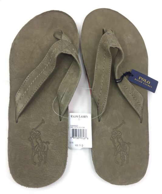 261f97d004f NEW Polo Ralph Lauren Men s Edgemont Big Pony Green Leather Flip Flop  Sandals