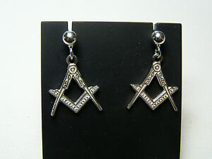 Image Is Loading 925 Silver Earrings Freemasonry Team And Comp Mason