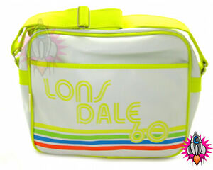 LONSDALE 60 LONDON WHITE NEON RETRO SPORTS SHOULDER SCHOOL BAG NEW WITH TAGS