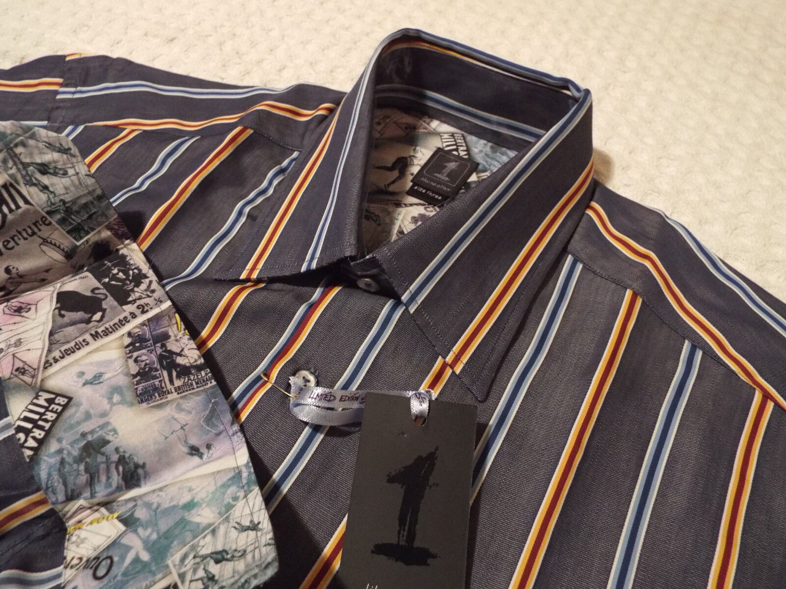 1 LIKE NO OTHER Mens Shirt   Size 3 (48  CHEST)   RRP + SUPERBLY STRIPED